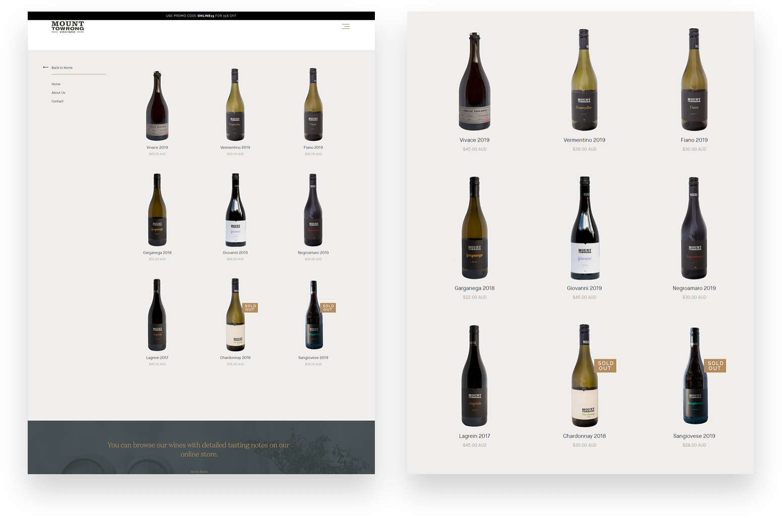 Mount Towrong Vineyard demo product image.
