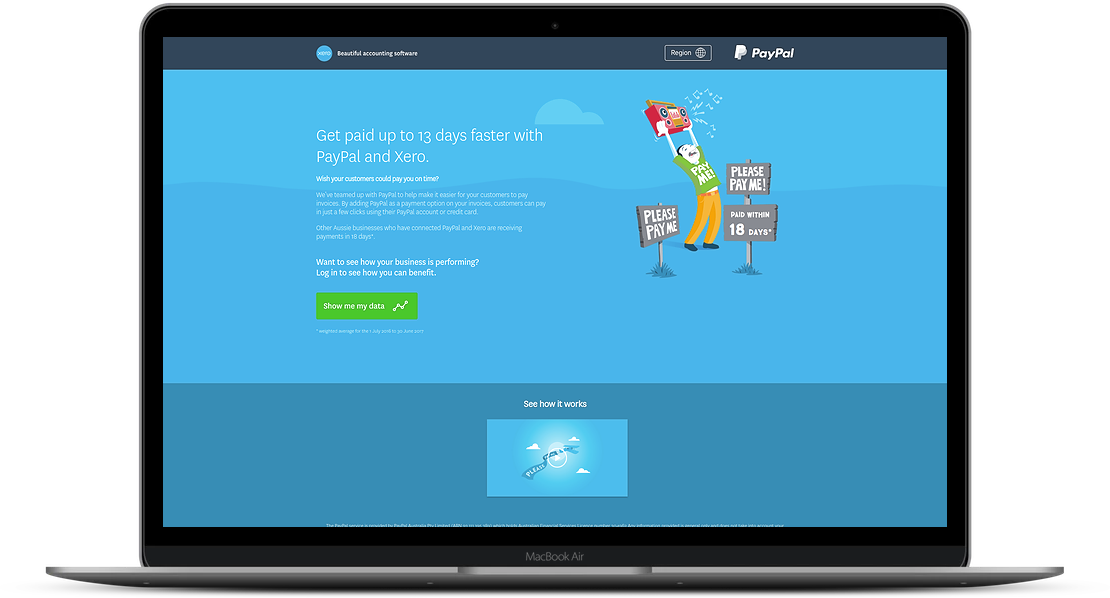 Xero PayPal Calculator Home Screen